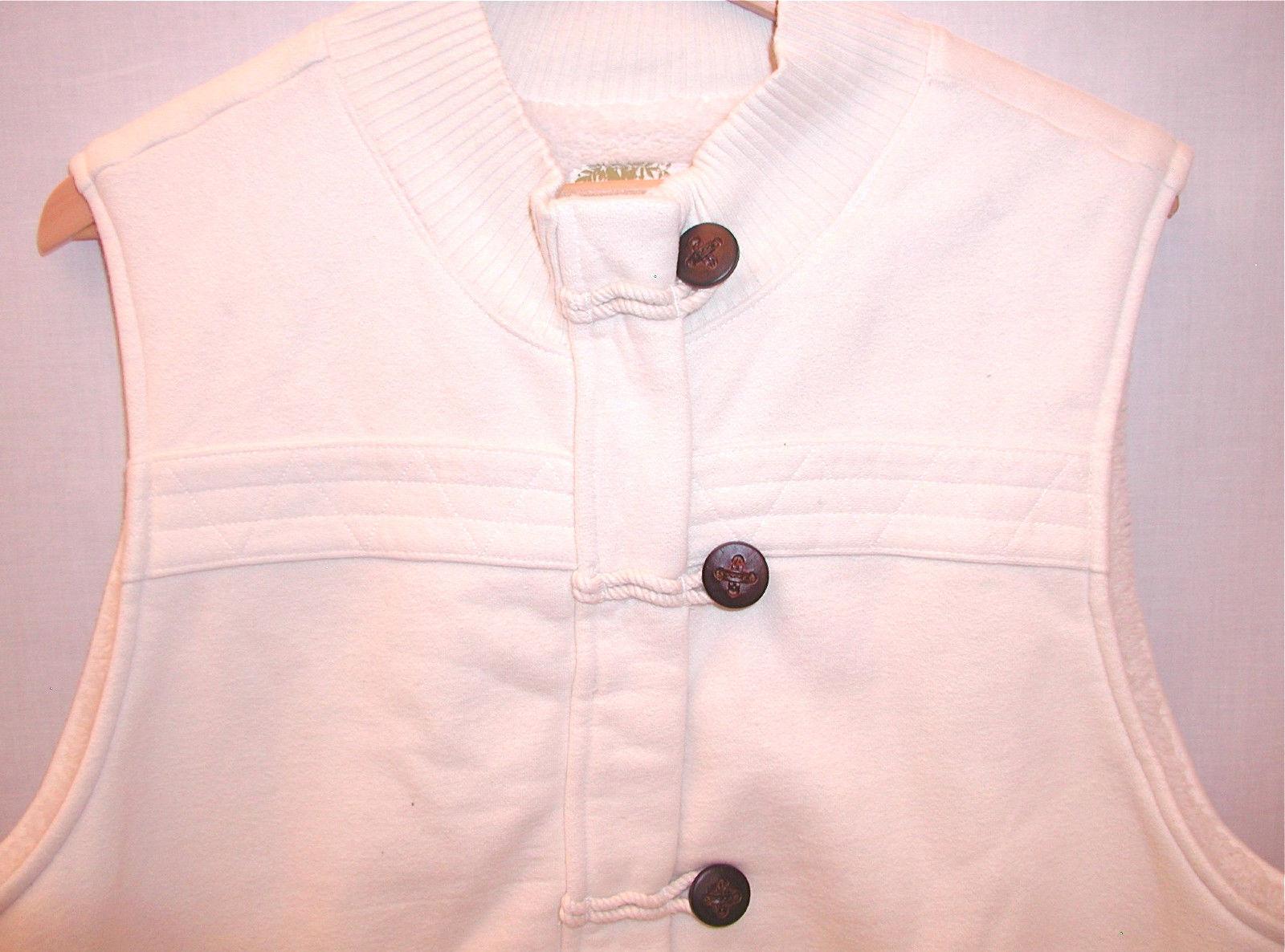 Old Navy Maternity Long Sherpa Cotton Vest Women XXL Cream White Pockets Zipper image 3