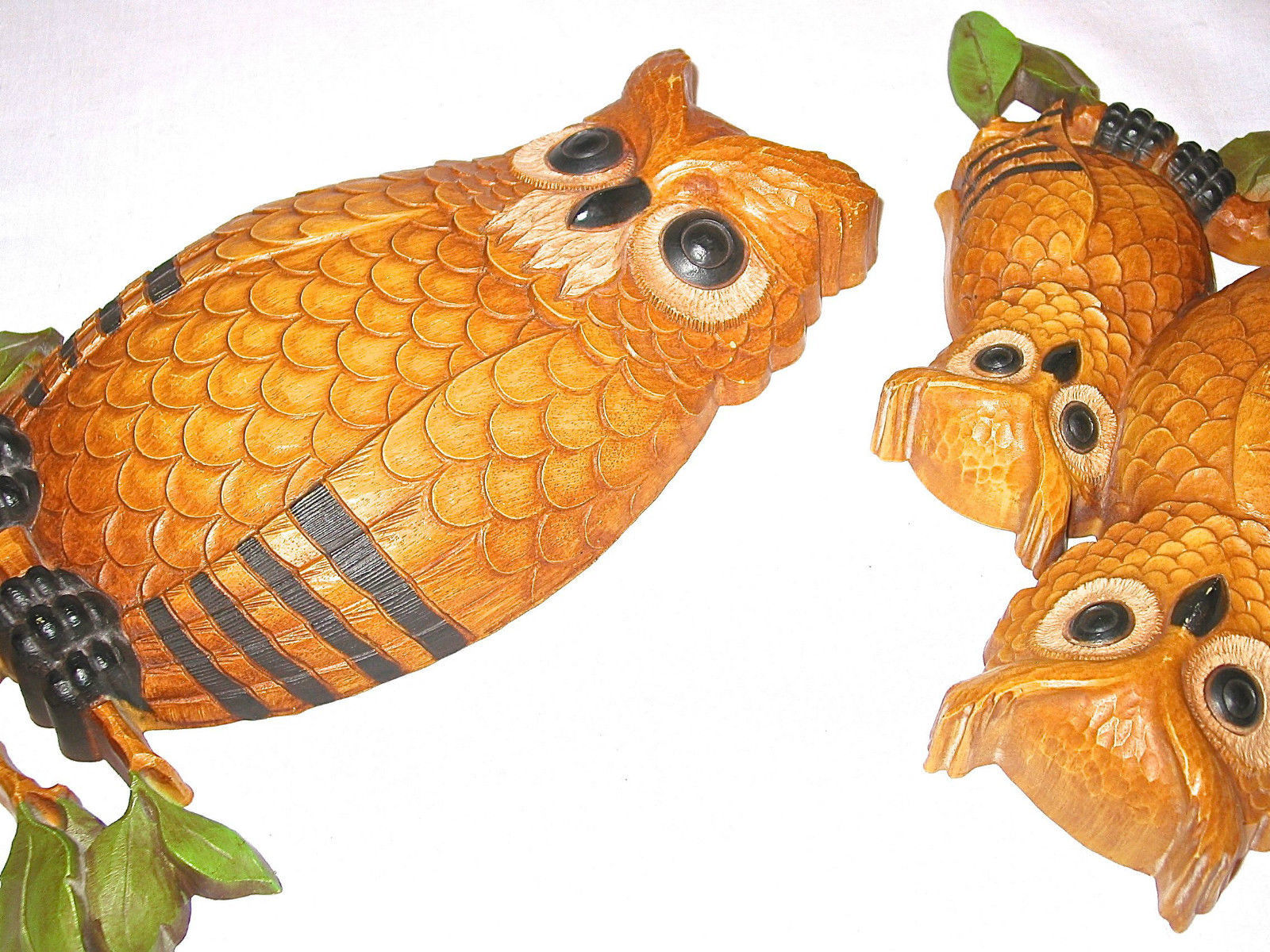 Vintage Homco Large 2 Owl Plaques 3D Wall Decor Dart Ind Collectible