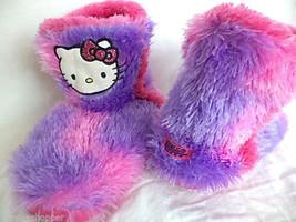 Hello Kitty Slip On Slipper Boots Fuzzy Purple Pink Girls S 13-1 Minimal Use - $15.89