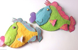 New Large Metal Tropical Fish 2 Wall Plaques Handcrafted Nautical Vivid ... - $58.35