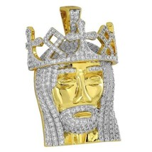 King Jesus Head Pendant Gold Plate Simulated Di... - $34.99