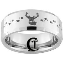 Tungsten Band 8mm Beveled Deer Hunting Design Ring Sizes 4-17 - $49.00