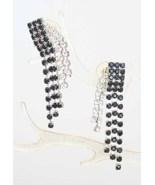 Elegant Black & Crystal Rhinestone Waterfall Pierced Earrings 1980s vintage - $19.75
