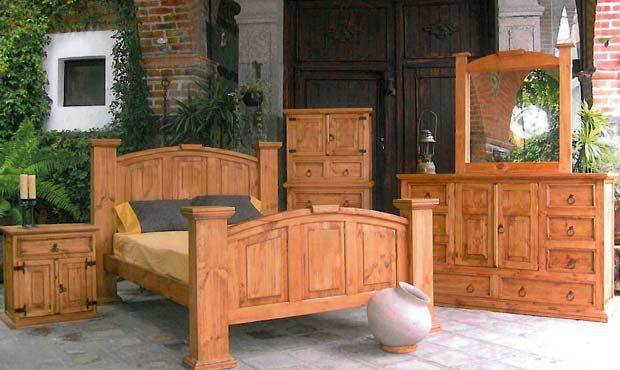 Traditional Style Rustic Knotty Pine Bedroom Set Real