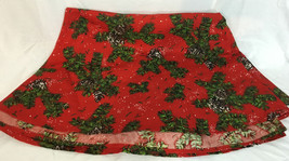 "Red Christmas Circular Tablecloth Holly Evergreen 104"" Across - $34.99"