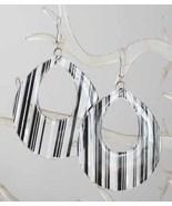 Art Moderne 80s Black & White Plastic Earrings - $14.80