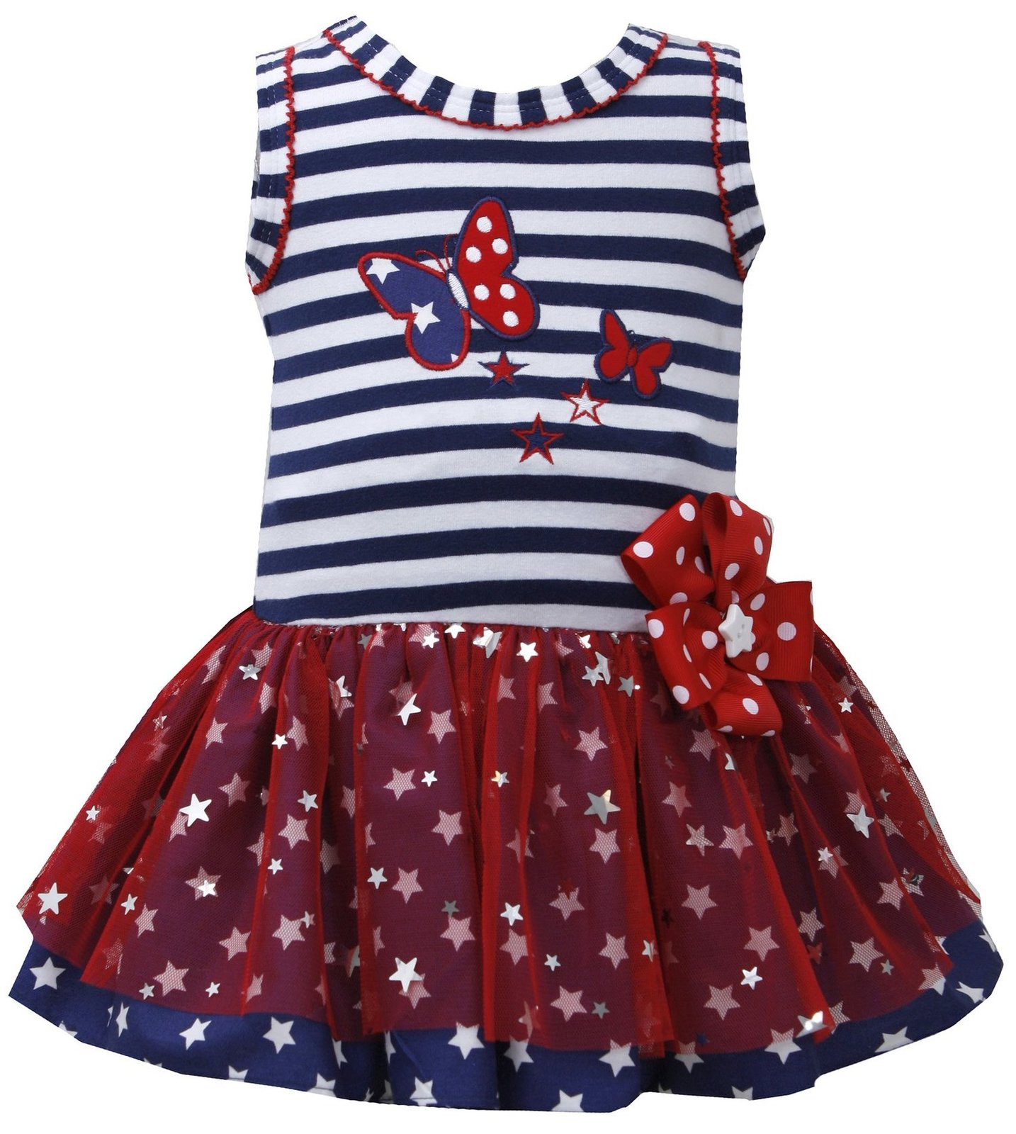 Baby Girls 3M 24M Red White Blue Butterfly Stars Americana Patriotic