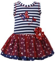 Baby Girls 3M-24M Red White Blue Butterfly Stars Americana Patriotic Dress