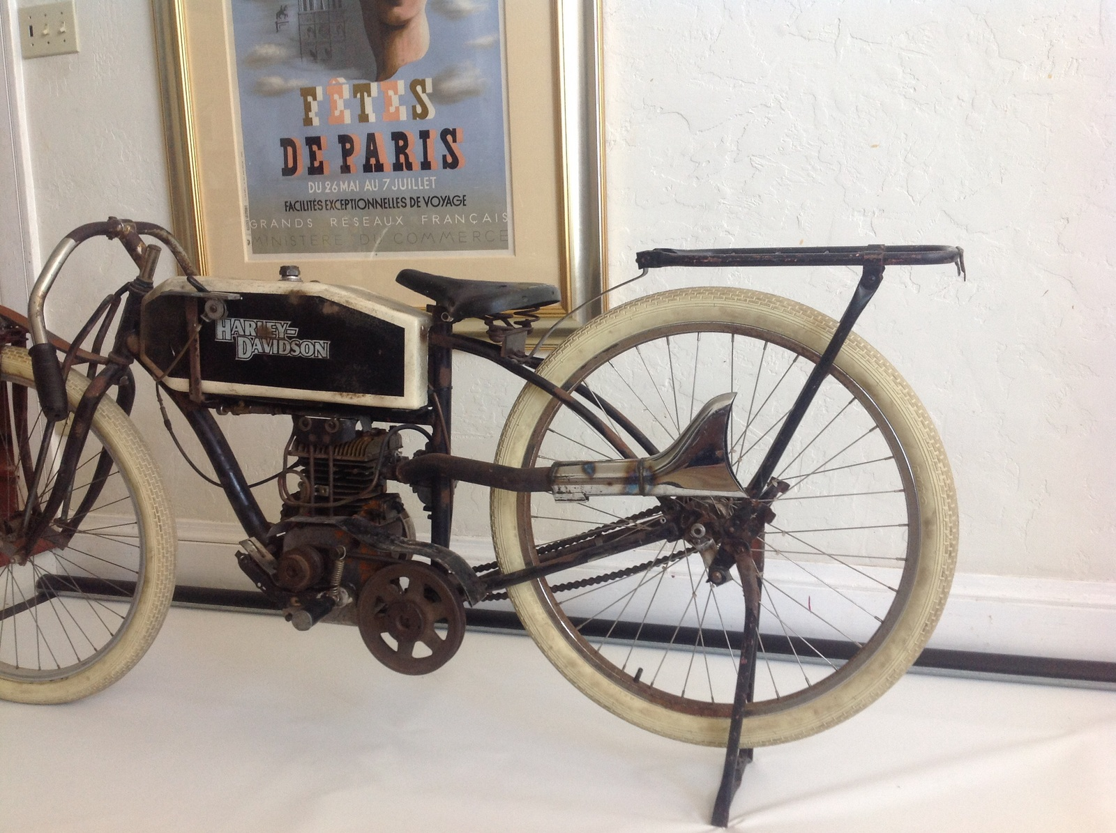 Amazing 1915 Harley Davidson Folk Art Replica, Rare c.1965