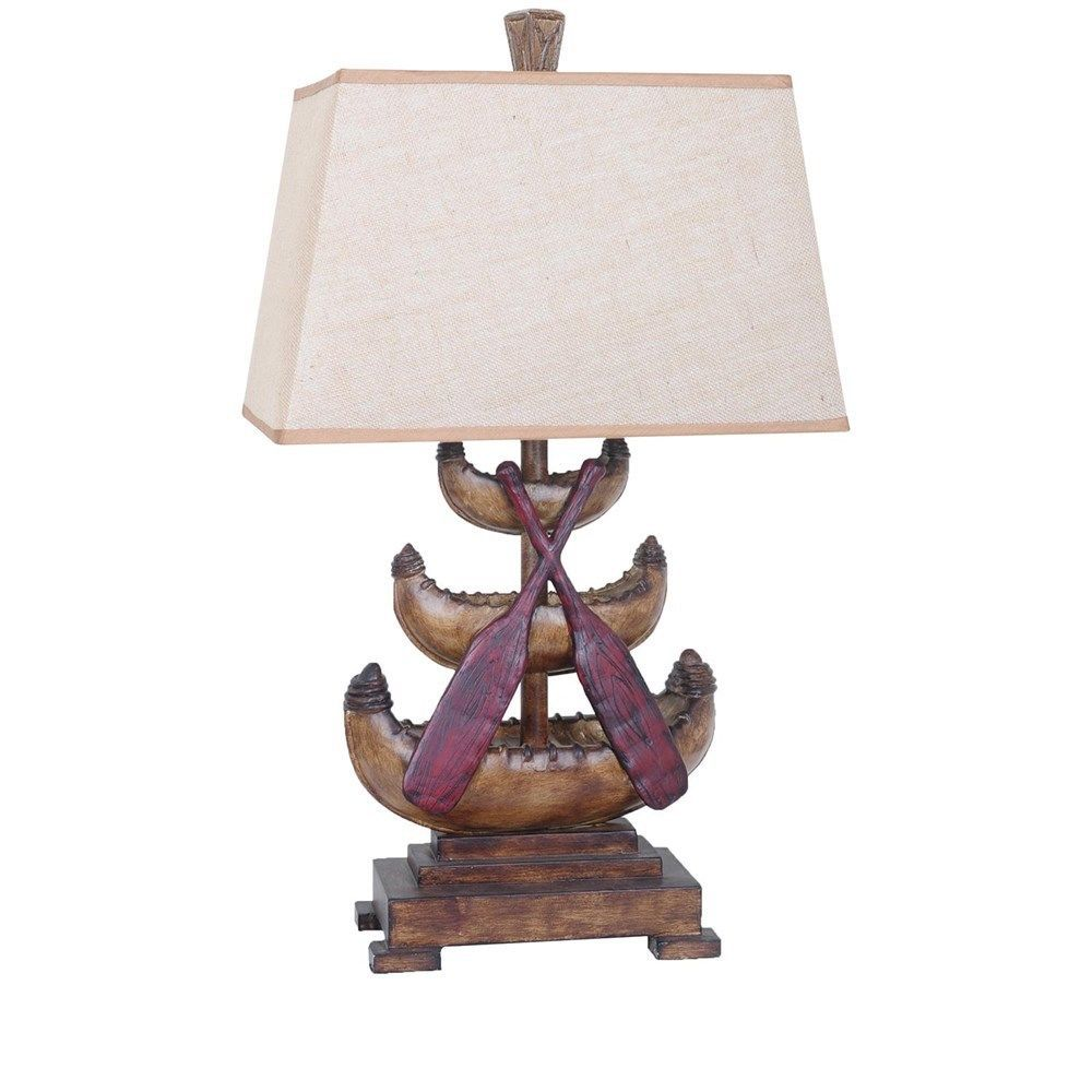 Lodge Antique Style Canoe Finish Resin Table Lamp 32.5''H.