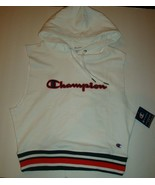 Champion Women's Campus Sleeveless Hoodie Sweatshirt Chest Logo White/Re... - $35.63