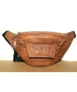 ❤️Tumbled Tan Genuine Leather Fanny Pack Waist Belt Bag Organizer India ... - $14.24