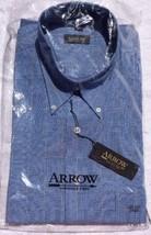 Mens Arrow NEW Career Dress Shirt Blue Checks Sz 16 1/2 Long Sleeve 34/3... - $15.43