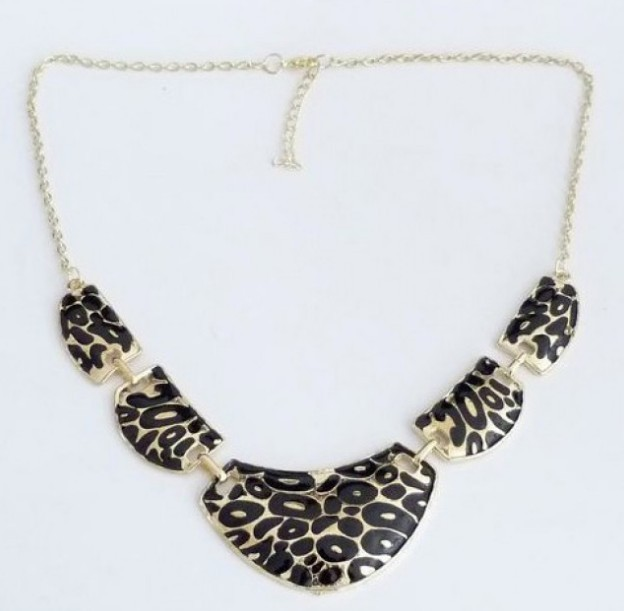 Primary image for Stylish Lacquered Panther Print Bib Necklace