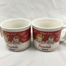 Campbell's Kids Soup Cup Mug Pair China 1998 Houston Harvest Collectible - $37.39