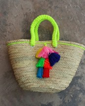 Beach Basket with pompoms