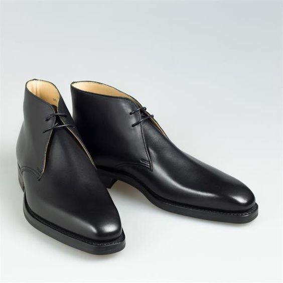 handmade black ankle high real leather boot black