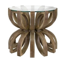 Contemporary Lotus Wood/Glass Top Accent Table,18.25''H. - $361.35
