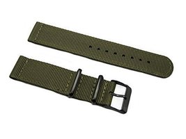 HNS 2 Pieces 22mm Olive G10 Mod Ballistic Nylon Nato Watch Strap with PV... - $15.00