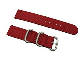 HNS 2 Pieces 22mm Red Ballistic Nylon Zulu Watch Strap 3 Matte Ring ZU068 - $13.50
