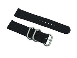 HNS 2 Pieces 22mm Black Ballistic Nylon Zulu Watch Strap 3 Matt Stainles... - $13.50