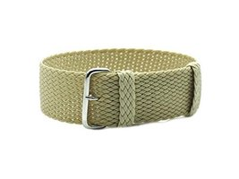 HNS 22mm Beige Nato Perlon Tropic Braided Woven Watch Strap with Silver ... - $12.50