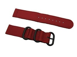 HNS 2 Pieces 22mm Red Ballistic Nylon Zulu Watch Strap 3 PVD Ring ZU069 - $15.00