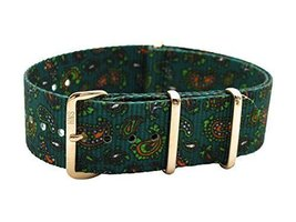 HNS 22mm Double Graphic Printed Vintage Paisley Nylon NATO Watch Strap R... - $19.50
