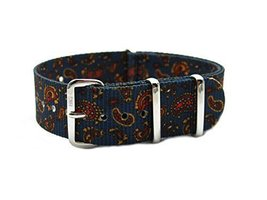 HNS 20mm G10 Double Graphic Printed Vintage Navy Paisley Pattern Nato Wa... - $17.50
