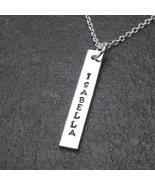 Customized Vertical Rectangle Bar Charm Necklace Personalized Name Plate... - $19.99+