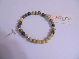 "Macy's 6""Silver Cross Semi-Precious Jasper Stone Stretch Bracelet J324 - ₨1,131.24 INR"