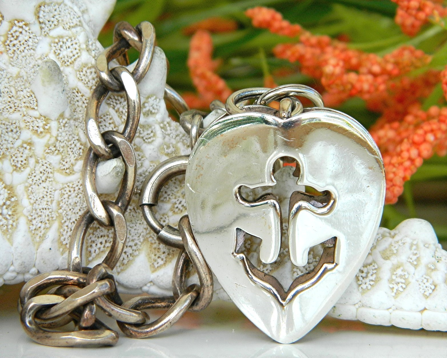Primary image for Vintage Napier Anchor Heart Nautical Charm Bracelet Sterling