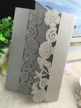 50pieces Luxury Silver Seashell Wedding Invitation,Laser Cut Invitation ... - $55.00