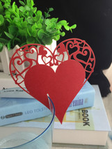 100Pieces Red Color Heart Wedding Table Decoration Greeting Cards/Place Cards  - $29.00