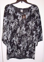 Woman's Shirt / Top by Brittany Black - Black with Floral Print - Size: M - $3.12