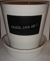 White Ceramic Pot w/ Attached Saucer ~ 'chalk one up!' - $10.00