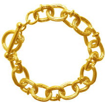 """Karine Sultan Matte 24k Gold-Plate Chunky Chain Bracelet,Toggle Clasp,7""""... - $59.95"""