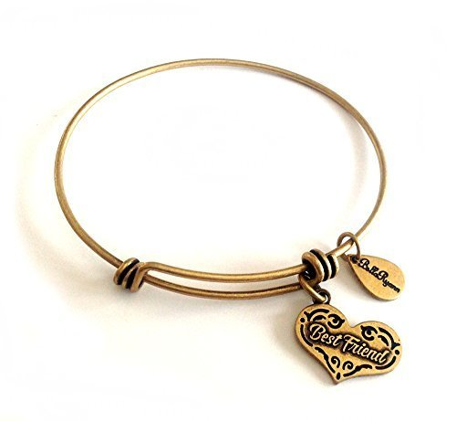 Bella Ryann Best Friend Heart Gold Charm Bangle Bracelet