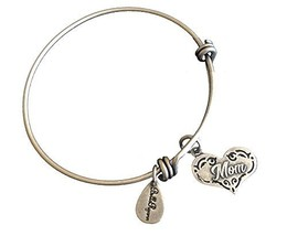 Bella Ryann Mom Heart Silver Charm Bangle Bracelet