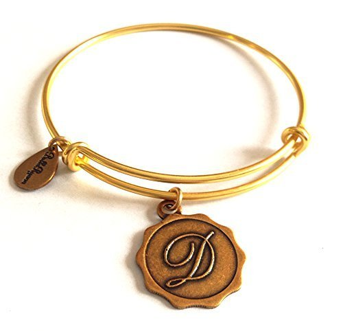 "Bella Ryann Letter ""D"" Gold Charm Bangle Bracelet"