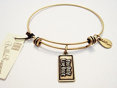 "Authentic Bella Ryann ""You Only Live Once"" expandable bangle 22k gold plated...."