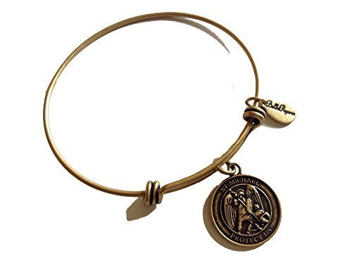 Bella Ryann St. Michael Protect Us Gold Charm Bangle Bracelet