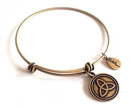 Bella Ryann Trinity Round Gold Charm Bangle Bracelet