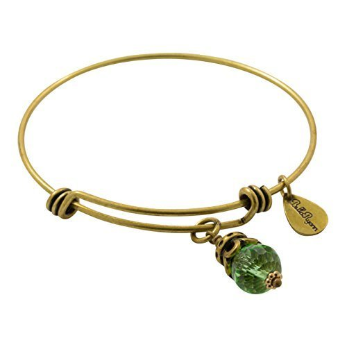 Bella Ryann Goldtone Birth Crystal Charm Bangle - August