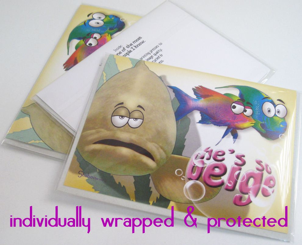 Funny Cartoon Fish Thinking Of You Card: So Not Beige By Shaboo Prints