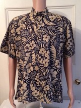 Hilo Hattie Shirt Mens Size L Hawaiian Blue Tropical Made in USA Large A... - $26.60