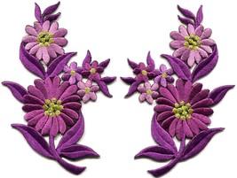 Purple daisies pair flowers floral bouquet boho applique iron-on patch n... - £2.85 GBP
