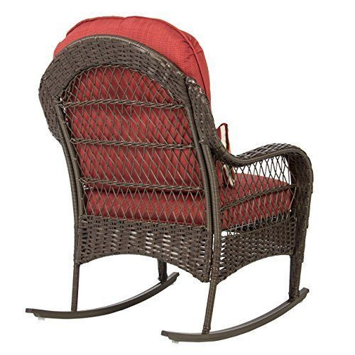 Wicker Rocking Patio Chair Red Terra Cotta Deep Cushions All Weather Chairs