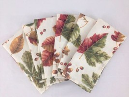 NEW Autumn Leaf Print Fall Collection Set of 6 19 inch Square Table Napkins - $13.81