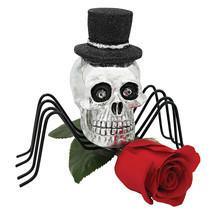 Set of 3: Gothic Silver Skull Spider in Top Hat Metal Legs Halloween Dec... - £44.80 GBP